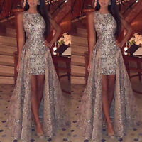 Women Glitter Formal Wedding Cocktail Gown Party Prom Bridesmaid Dress New 2 Fy