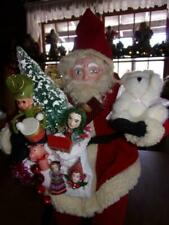 "28"" Seated German style Santa with nap sack of toys and vintage bottle brushtree"