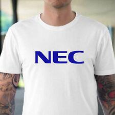 NEC BLUE LOGO TECHNOLOGY men white t-shirt 100% cotton personalized tee