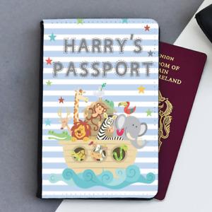 Personalised Custom Noahs Ark Boys First Kids Children's Passport Holder Cover