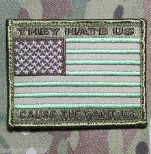 They Hate Us Ain'T Us American Usa Flag Army Morale Badge Multicam Hook Patch