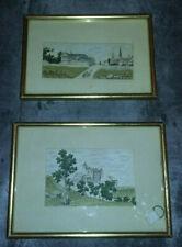 Paire de 2 anciens dessins Aquarellés - Chateau & animé - Ecole française XIXème