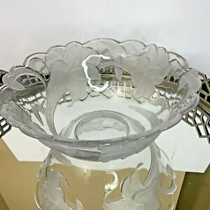 """Mikasa Large 11"""" Crystal Serving Bowl Clear with Frosted Flowers Peace Lily? #N1"""