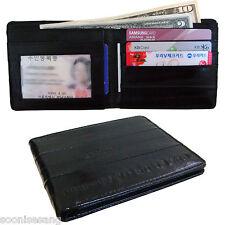 Genuine Eel Skin Leather Billfold Wallet Men's Standard Purse (Black)