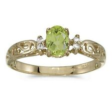 Genuine Peridot and Diamond Victorian Style Band 10K Yellow Gold Ring