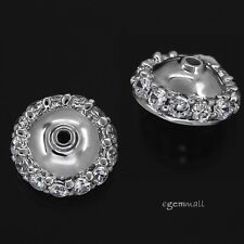 HIGH END! 1PC Fine Sterling Silver CZ Pearl Cup Bead Cap 14.5mm #97755