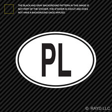 PL Poland Country Code Oval Sticker Decal Self Adhesive Polish euro