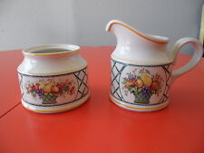 Villeroy & Boch Porcelain BASKET Creamer and Sugar (no lid) Fruit Design