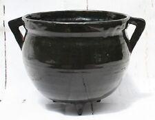 Studio Art Pottery Black Lustre 3 Legged Witch's Cauldron Signed illegible CP