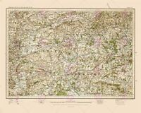Map 1902 Os UK Wiltshire Hampshire Old Large Canvas Art Print