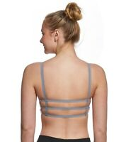Onzie Strappy Elastic Back Sports Bra Size L Tan Bronze Celestial Gray Straps