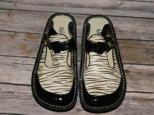 Alegria 38 8 Black White Classic Zebra Slides Shoes Clogs Buckle Slip On Open