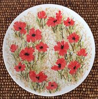 Fitz and Floyd Red Poppies Green Tan Leaves SALAD DESSERT PLATE 7.5