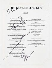 OF MONSTERS AND MEN GROUP SIGNED CRYSTALS LYRIC SHEET