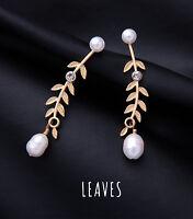 Orecchini a Perno Dorato Foglio Perle Coltivazione Bianco Barocco Retrò BB15