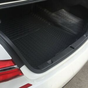 Large Heavy Duty Black Rubber Car Boot Mat Liner for BMW 5 Series - Trim Lines