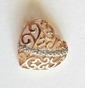 Beautiful Solid 9ct Gold Heart Pendant. Rose Gold. 1.01g. 15mm. Fine Jewelry. 9K