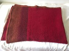 100% Cashmere Handmade Red and Brown Blanket