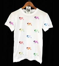 WALK THE PUG T-SHIRT - ACID COLOUR PRINT - VINTAGE  - UNISEX - PEAK CLOTHING