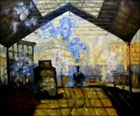 Quality Hand Painted Oil Painting Rep Claude Monet Gare Saint-Lazare 20x24in