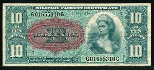 USA 1961, Series 591, Military Payment, 10 Dollar, M49,Plate#24 , VF