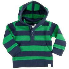 Gap Boys Top w/ Hood Green Blue Striped Pullover Cotton Size 12-18 Months 2T 3T