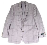 Lauren by Ralph Lauren Mens Sport Coat Gray Size 46 R Windowpane Blazer $375 211