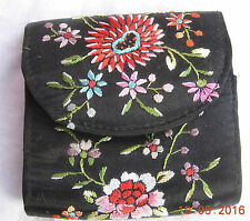 Vintage Embroidered silk purse black with flowers 3 compartments