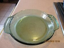 "Anchor Hocking Deep Dish Pie Pan Plate 9.5"" Forest Green Glass"