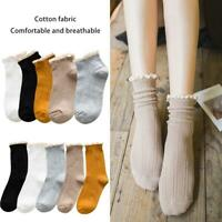 5 Pairs Women Ladies Frilly Lace Top Cotton Ankle Sock Short Socks Solid Color