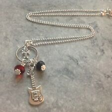 """Electric Guitar Cross Crystal Bead Pendant SP Chain 18"""" Necklace Unwanted Gift"""