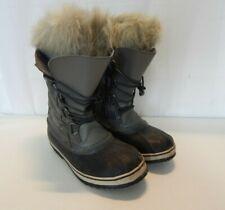 "Sorel Womens 6 Gray & Black Winter Boots w/ Faux Fur 12"" High"