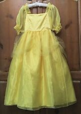 Boutique Girls Gold Yellow Satin Princess Belle Ball Party Gown Costume 7 8 9 10
