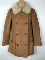 WOMENS H&M BROWN DOUBLE BREASTED BUTTON UP COAT JACKET WITH FUR COLLAR SIZE UK6