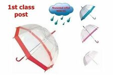Clear POE Dome Umbrella with coloured border, handle & cap