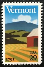 1991 Scott #2533 - 29¢ - Vermont Statehood - Single Stamp - Mint Nh