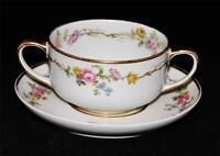 Charles Field Haviland Limoges Bouillon Cup Bowl & Saucer Pink Roses Flower Gold