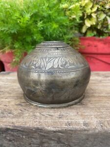Antique Brass Hand Carved Floral Leaf Design Islamic Persian Mughal Hookah Pot