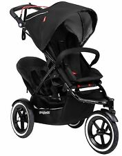 Phil & Teds Sport Inline Twin Baby Double Stroller w Second Seat Black Navigator