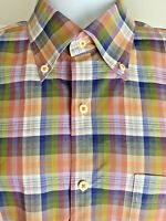 Peter Millar Button Down 100% Cotton Multicolor Plaid Long Sleeve Mens Shirt LRG
