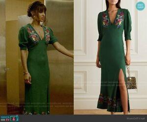 BNWT Rixo London Carmen Embellished Embroidered Crepe Midi Dress Size M UK 12