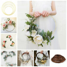 Gold Floral Hoops 15 - 40 cm  Flower Wreath Metal Ratton Wedding Hanging Decor