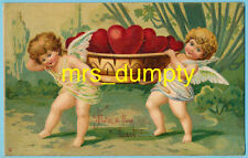 Valentine'S Day ~ Cherubs Carry Basket of Hearts~Series 34 Postcard