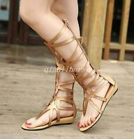 Gladiator Women's Hollow Out Thong Wedge Low Heel Knee High Retro Shoes Sandals
