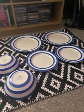 More details for tg green cornishware blue 2x dinner plates, 2x side plates, 2x bowls.