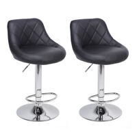 Set Of 2 Bar Stools Pub Chair Adjustable PU Leather Swivel Seat Counter Dining