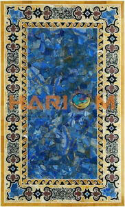 """25""""x50"""" Marble Dining Table Top Lapis Mosaic Random Inlay Occasional Decors B501"""