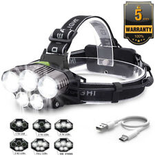 100000LM 5X T6 LED Rechargeable USB 18650 Headlamp Headlight Flashlight Torch CE