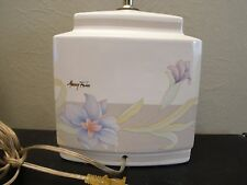 """Signed MURRAY FEISS White Ceramic Vintage Table Lamp Oriental Floral Design 12"""""""