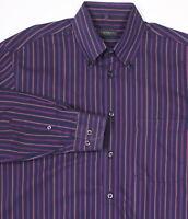 * CANALI * Sportswear Navy/Pink/Red Striped Cotton Dress Shirt~ Medium